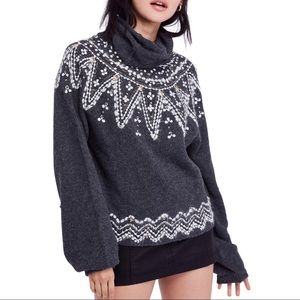 Free People Treasure Embellished Cowl Neck Sweater